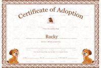 Pet Adoption Certificate Template inside Pet Adoption Certificate Template