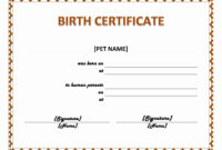 Pet Birth Certificate Maker | Pet Birth Certificate For Word pertaining to Baby Doll Birth Certificate Template