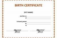 Pet Birth Certificate Template – Ms Word Templates regarding Birth Certificate Templates For Word