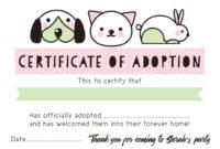Pet Rescue Party Pretend 'adoption Certificate' – Pink pertaining to Pet Adoption Certificate Template