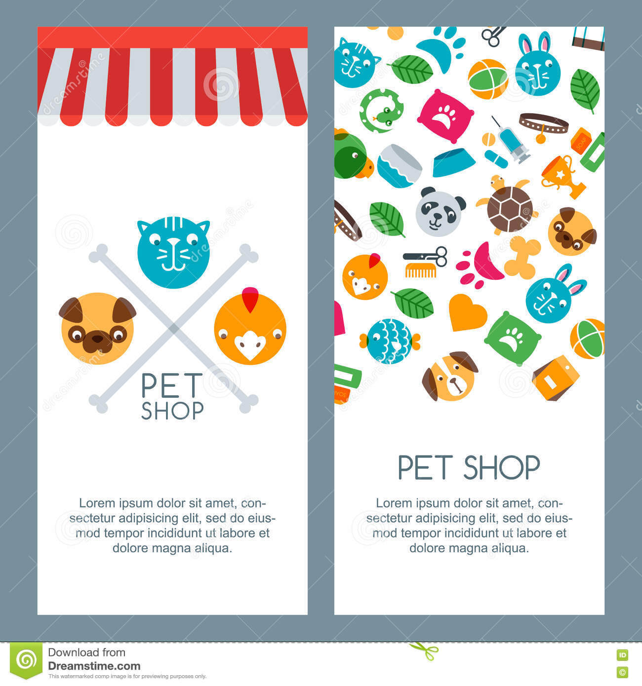 Pet Shop, Zoo Or Veterinary Banner, Poster Or Flyer Template inside Zoo Brochure Template
