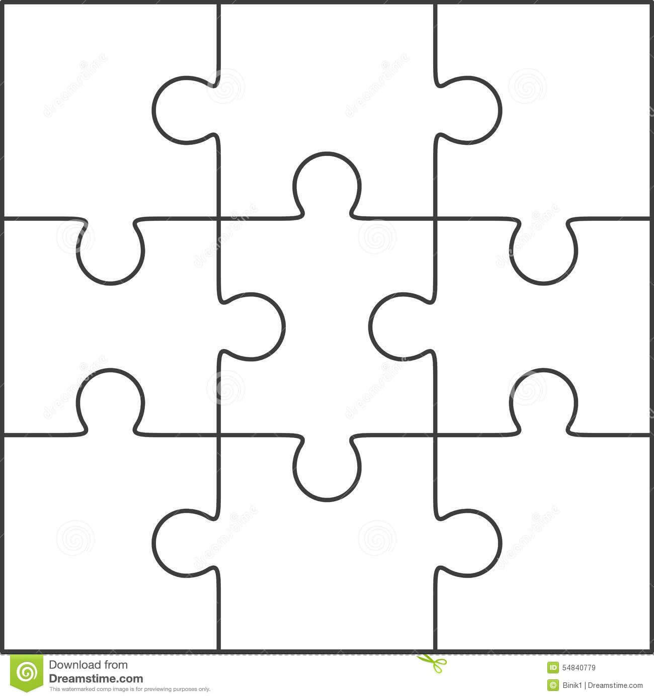 Photo About Jigsaw Puzzle , Blank Simple Template 3X3 With Blank Jigsaw Piece Template