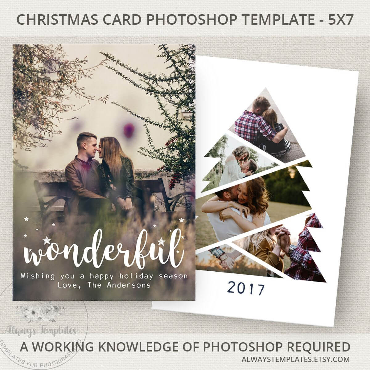 Photo Christmas Card Template, Christmas Tree Card Template Throughout Holiday Card Templates For Photographers