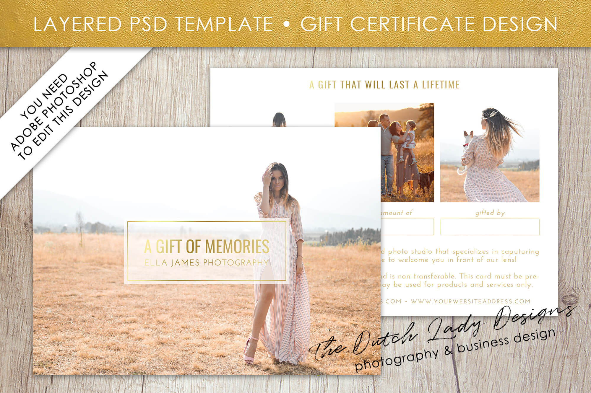 Photography Gift Certificate Template - Photo Gift Card - Layered .psd  Files - Design #31 in High Resolution Certificate Template