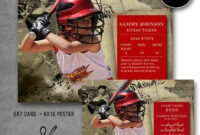 Photoshop Template, Sports Baseball Card And Poster, 16X20 Baseball Collage  Poster, 5X7 Baseball Photo Card, Photography Template, Spt25 in Baseball Card Template Psd