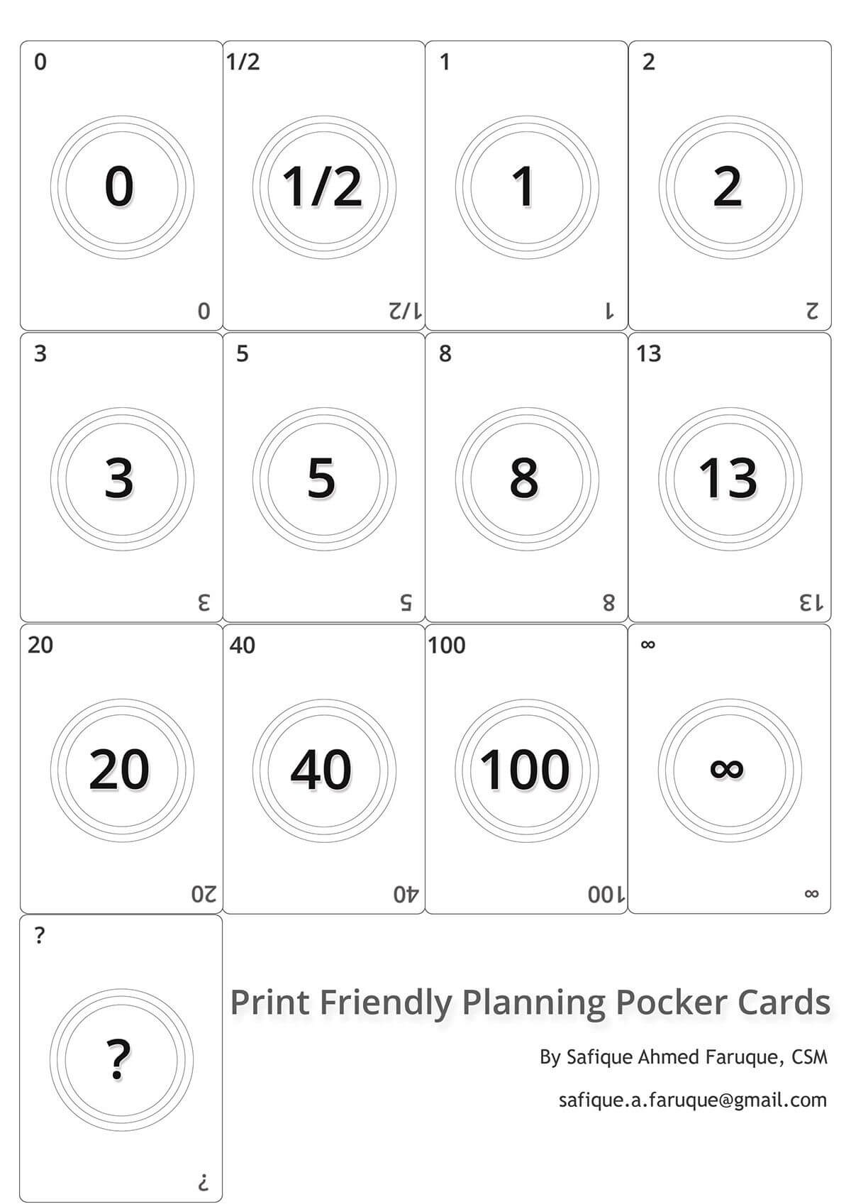 Picture: Agile Planning Poker Cards. Black And White Print Pertaining To Planning Poker Cards Template