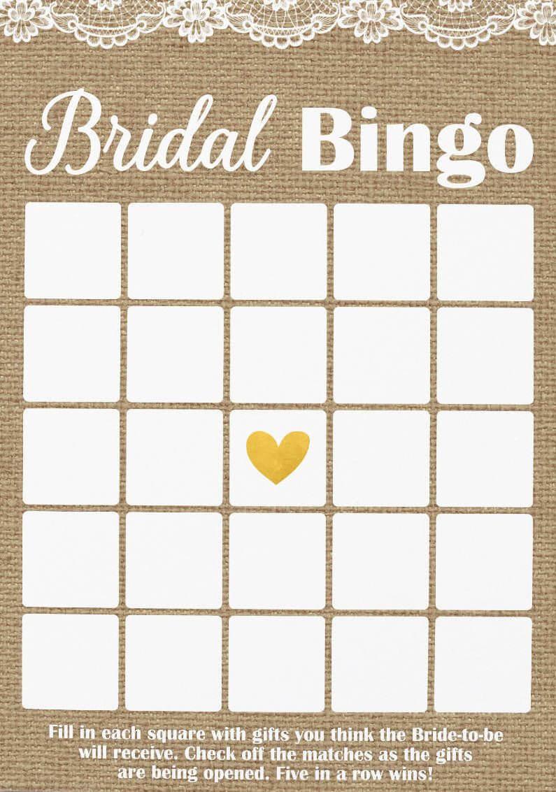 Pin On Bridal Shower Throughout Blank Bridal Shower Bingo Template