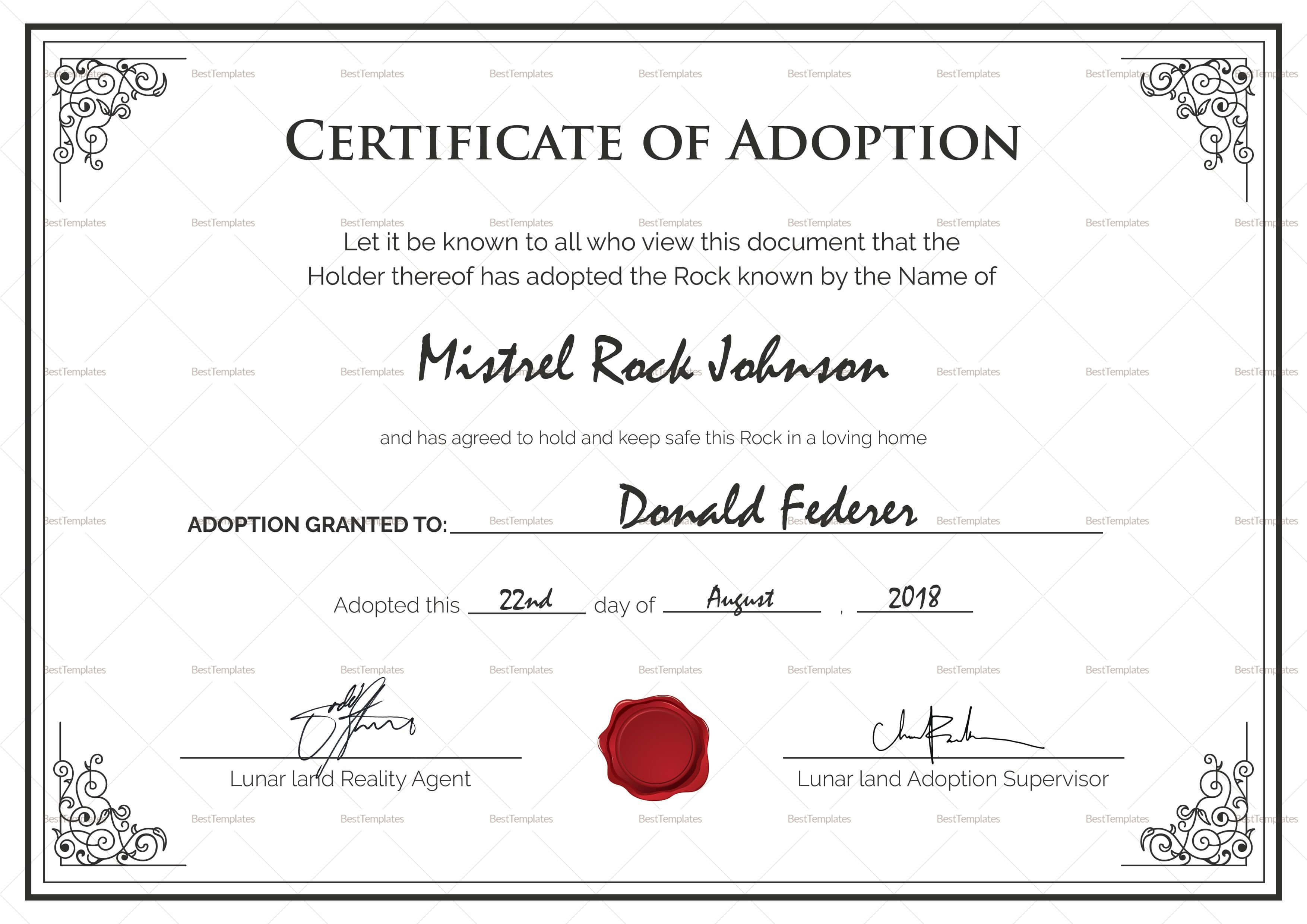 Pincheryl Wood On Interesting Info | Certificate for Adoption Certificate Template