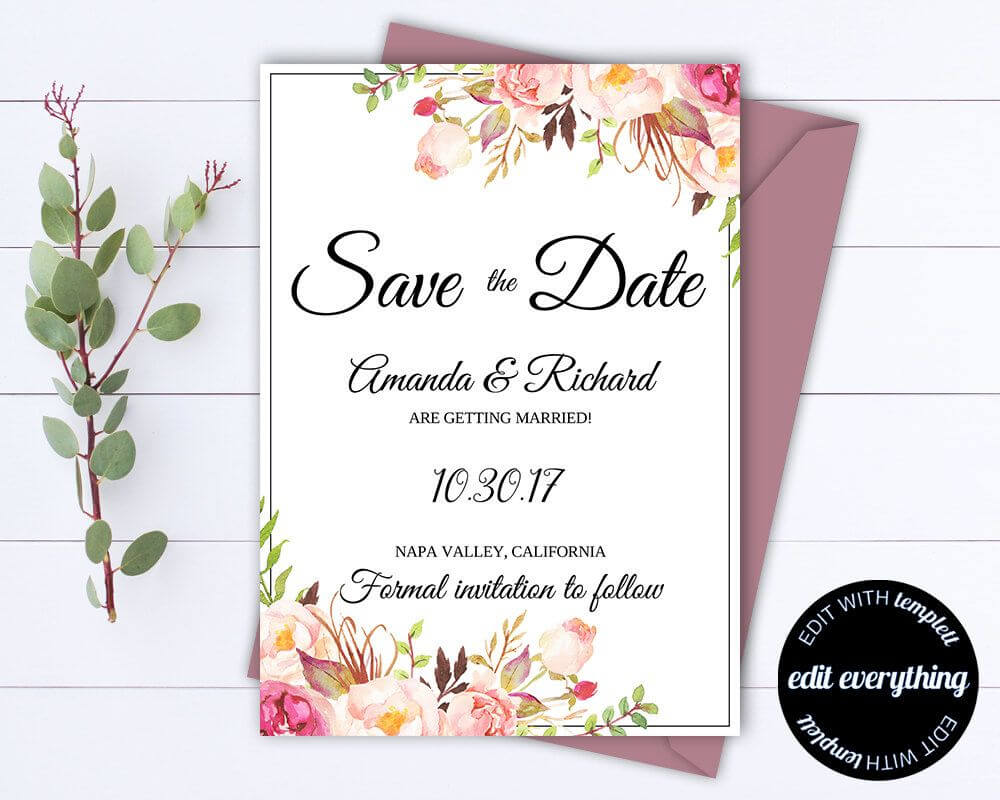 Pink Floral Save The Date Wedding Template Pink Floral Save regarding Save The Date Cards Templates