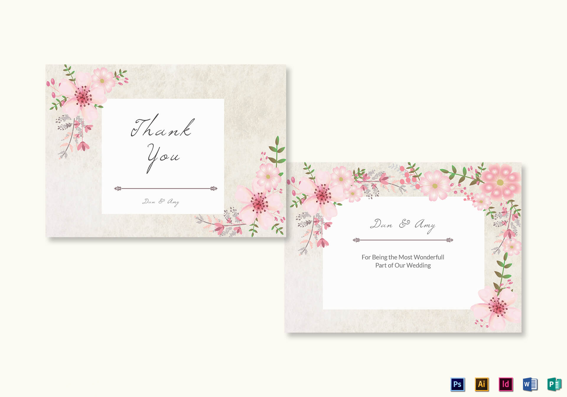 Pink Floral Thank You Card Template Intended For Thank You Card Template Word