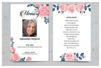 Pink Flower Funeral Prayer Card Template within Memorial Card Template Word