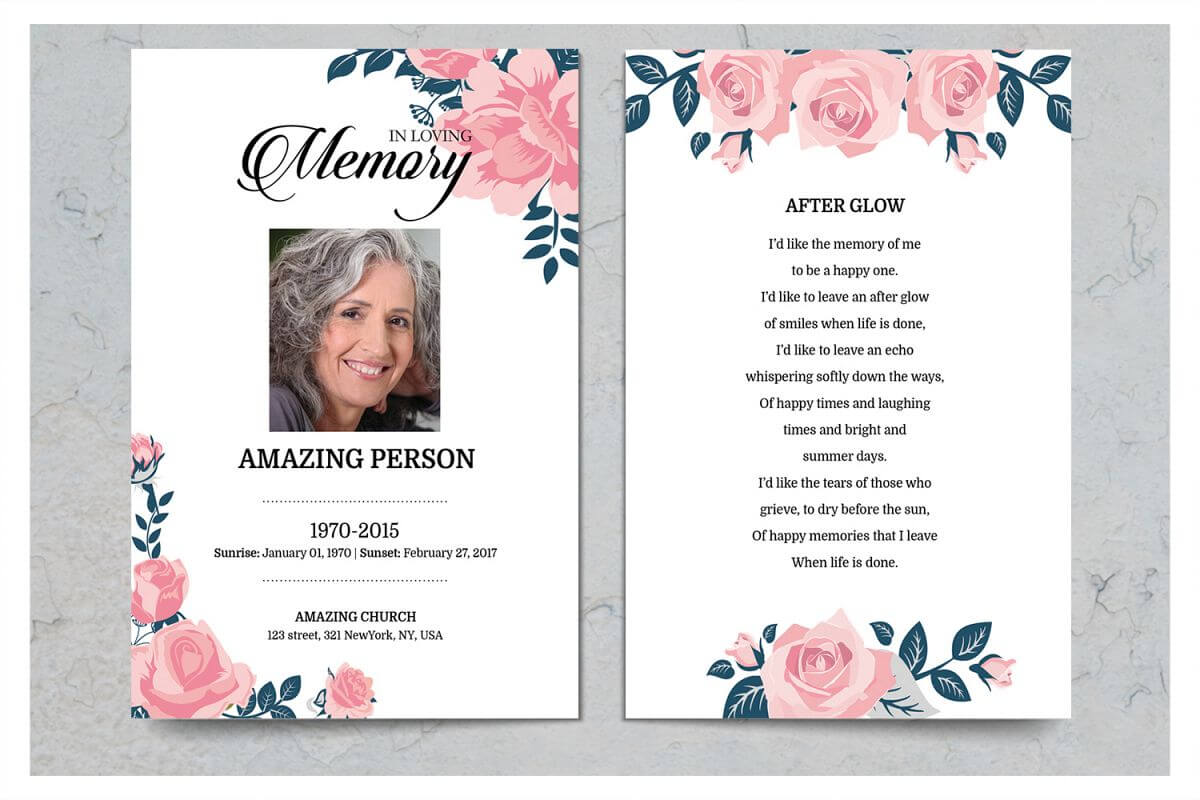 Pink Flower Funeral Prayer Card Template within Prayer Card Template For Word