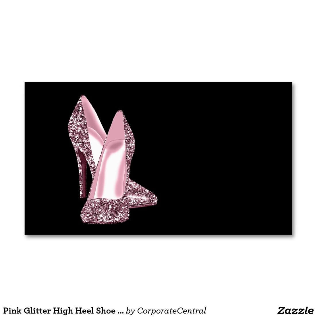 Pink Glitter High Heel Shoe Business Card Template   Zazzle inside High Heel Template For Cards