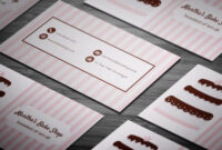 Pink Stripes & Choco-Cake Bakery Business Card Template with regard to Cake Business Cards Templates Free