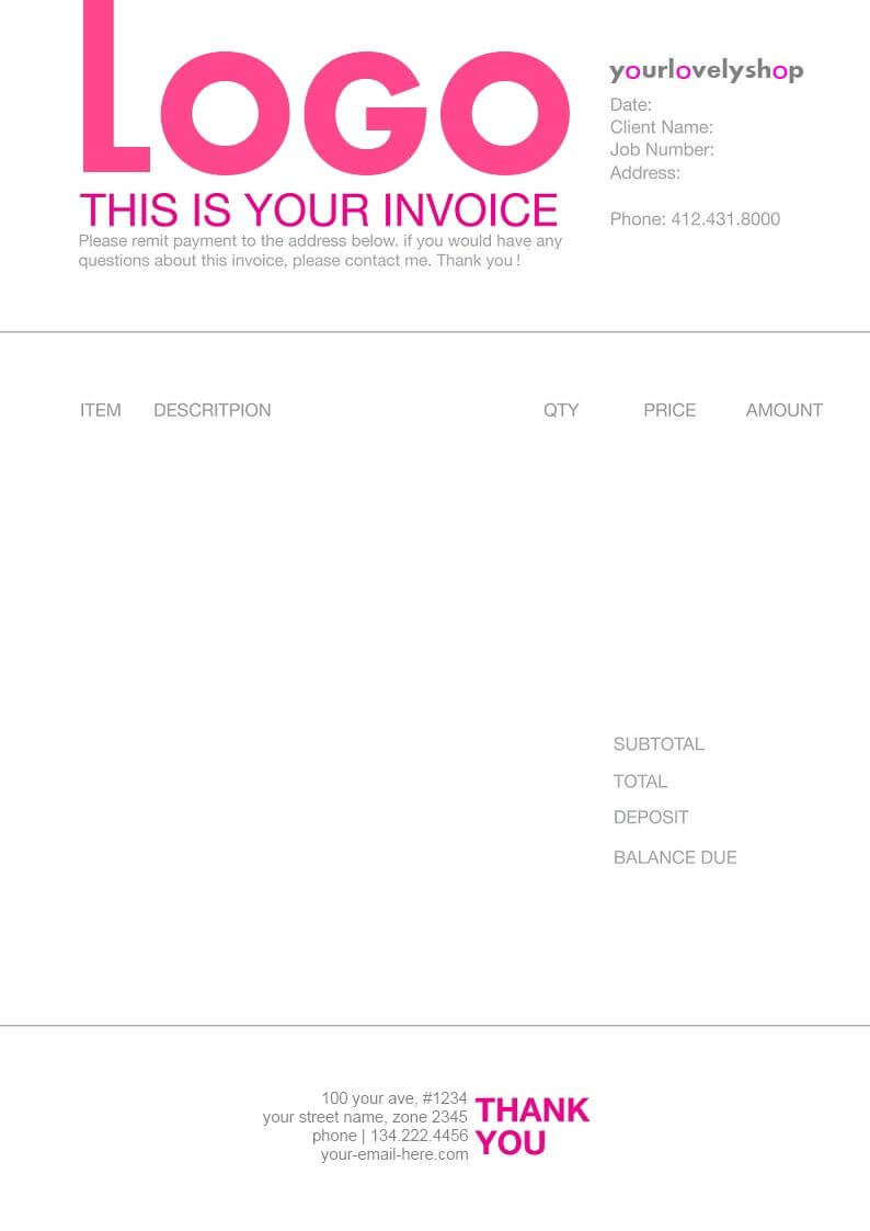 Pinmatthieu Smith On Invoices   Invoice Design Template regarding Web Design Invoice Template Word