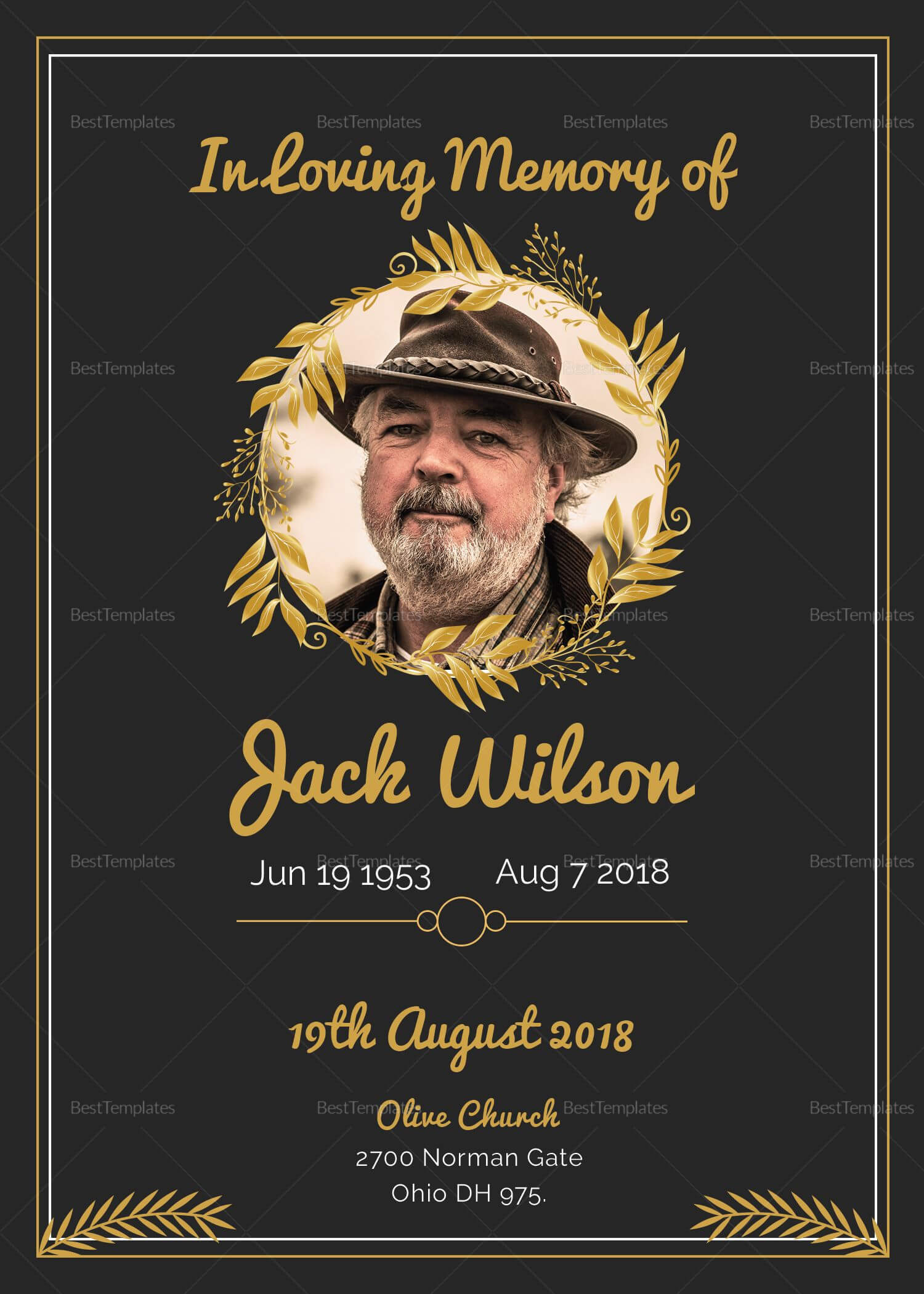 Pino Free Jay On Celebration Of Life | Funeral Pertaining To Funeral Invitation Card Template