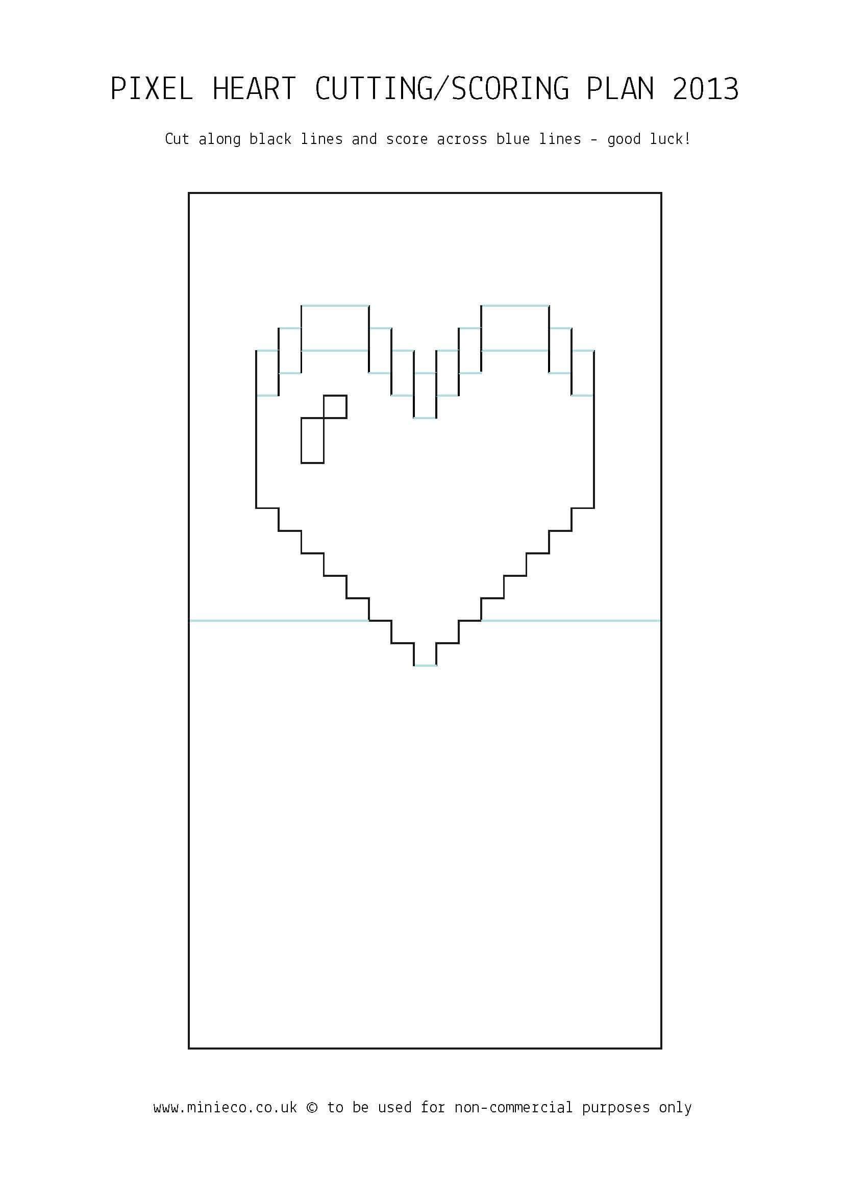 Pixel Heart Pop Up Card | Pop Up Card Templates, Heart Pop With Pop Out Heart Card Template