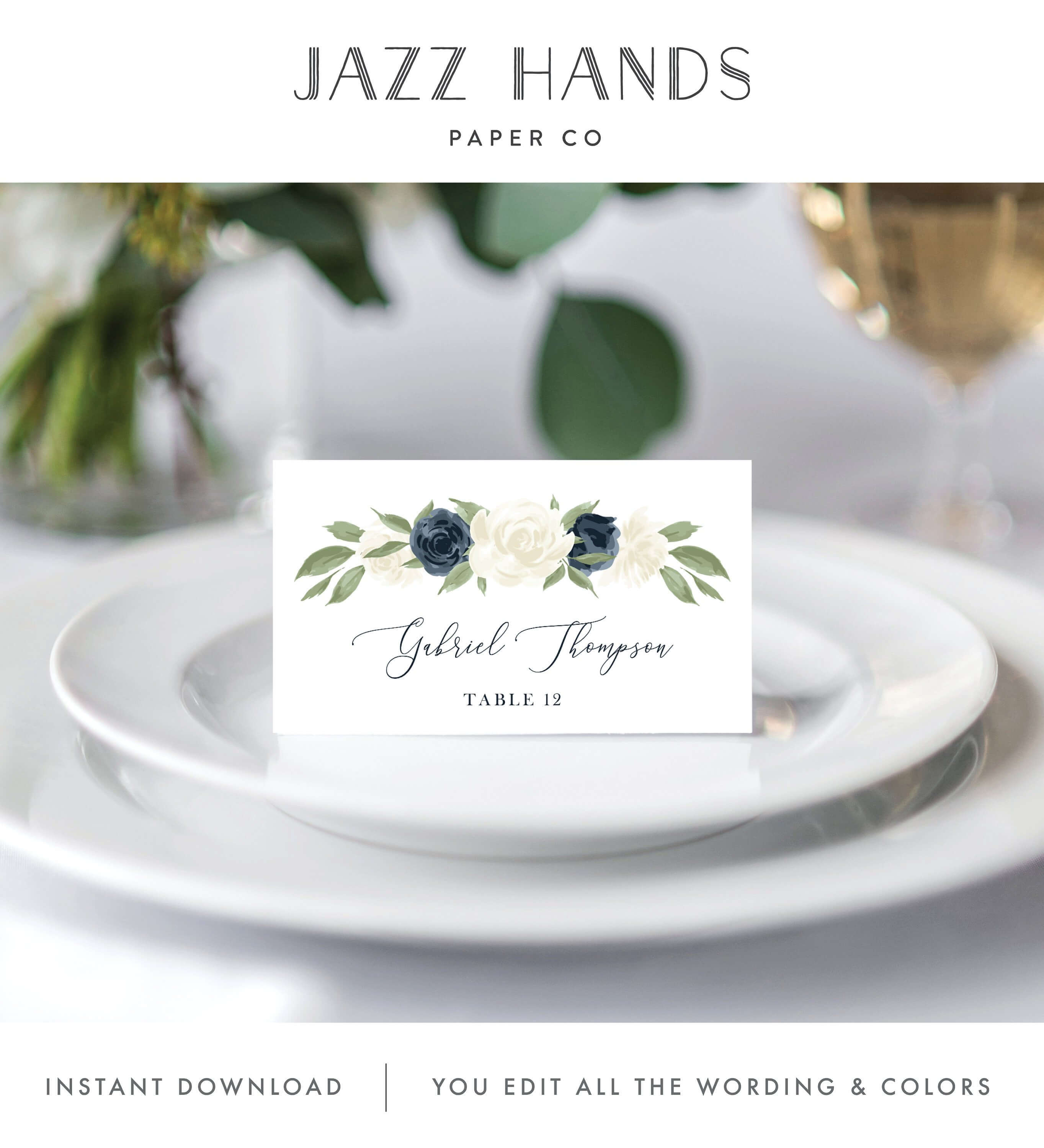 Place Card Template, Escort Card Template, Printable Wedding Intended For Place Card Setting Template
