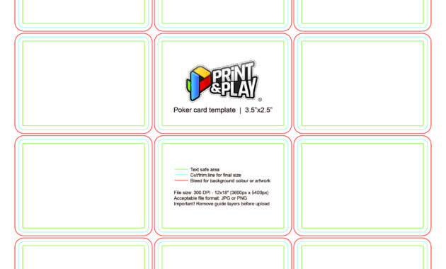 Playing Cards : Formatting & Templates - Print & Play for Playing Card Template Illustrator