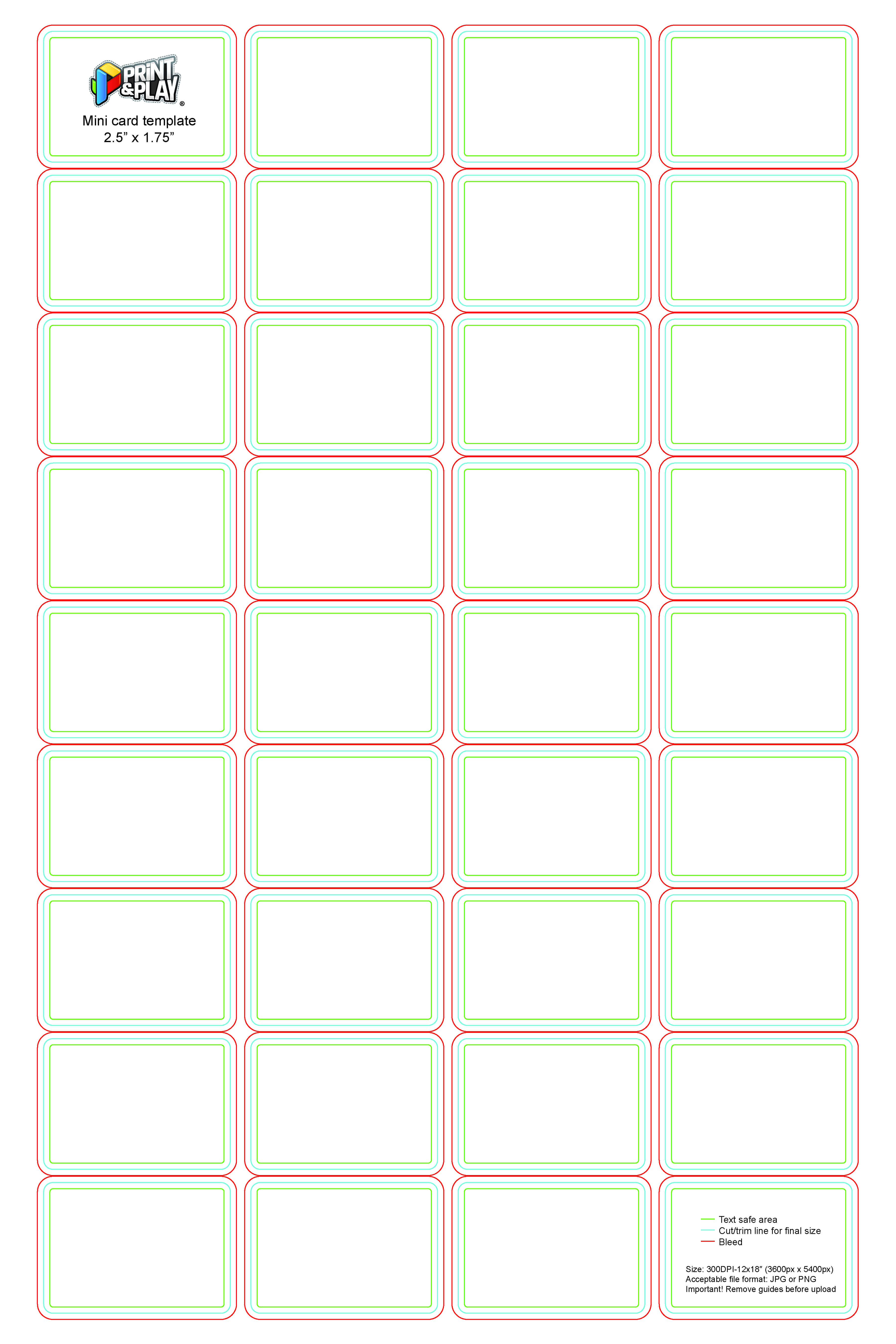 Playing Cards : Formatting & Templates - Print & Play inside Template For Playing Cards Printable