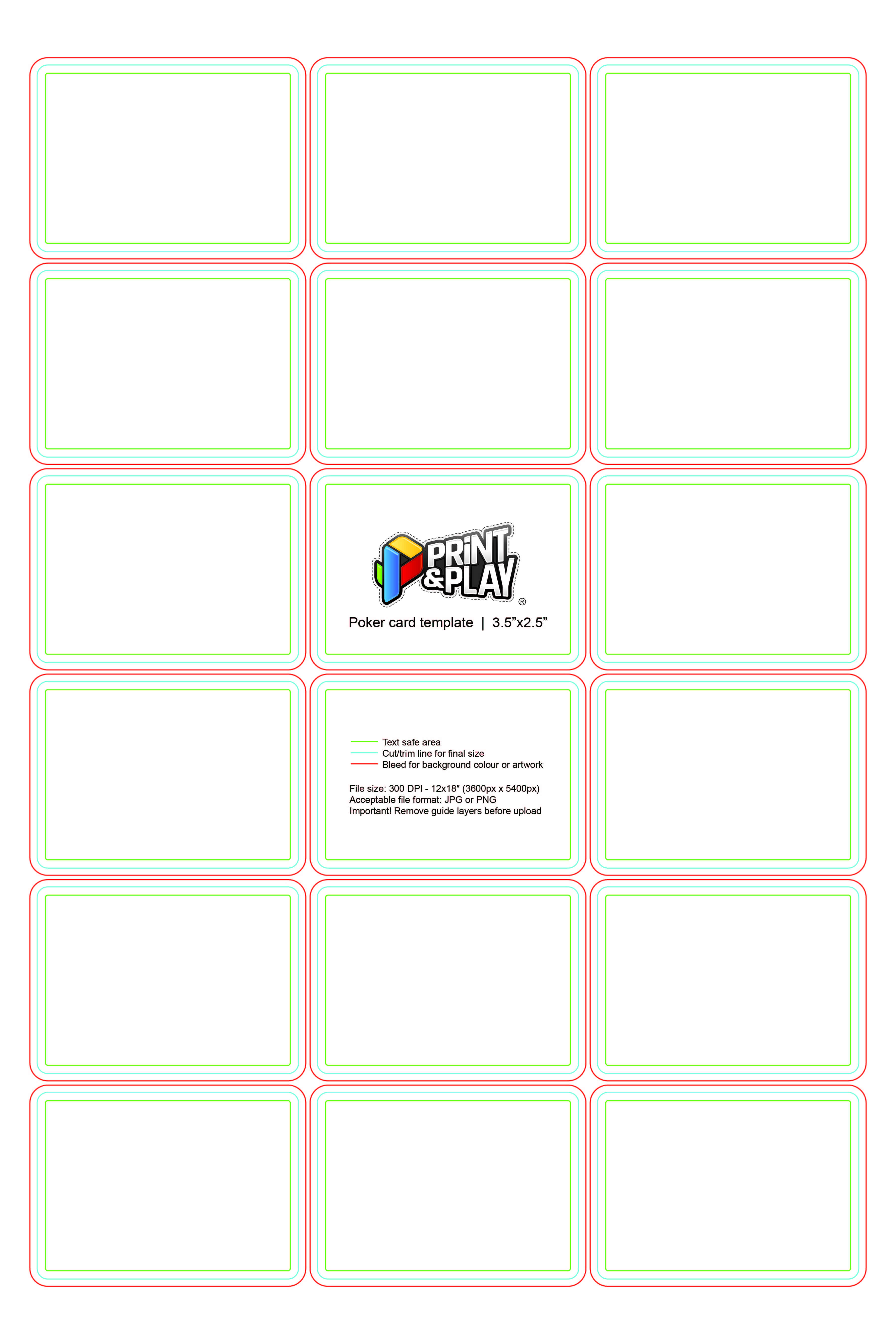 Playing Cards : Formatting & Templates - Print & Play regarding Template For Playing Cards Printable