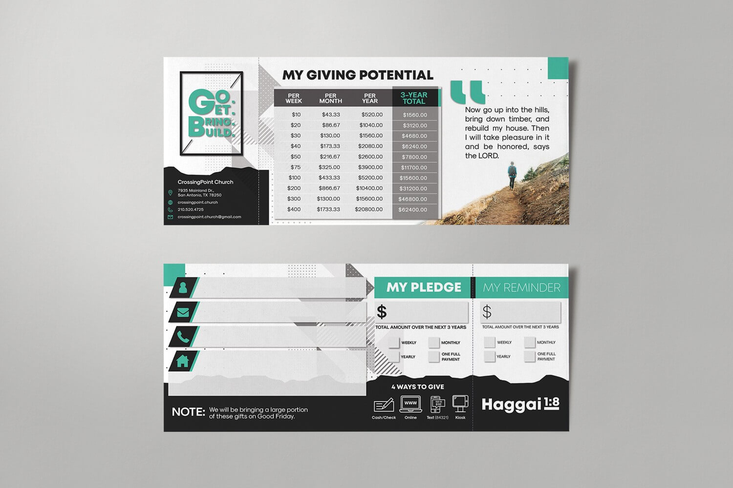 Pledge Cards & Commitment Cards | Church Campaign Design with Pledge Card Template For Church