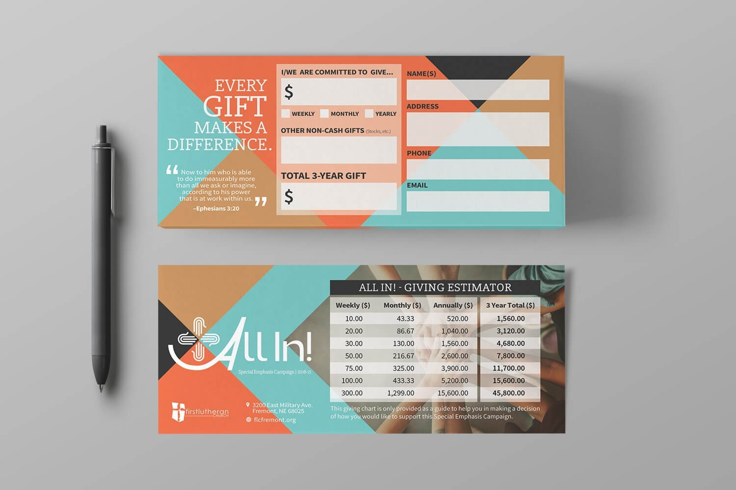 Pledge Cards & Commitment Cards | Church Campaign Design within Pledge Card Template For Church