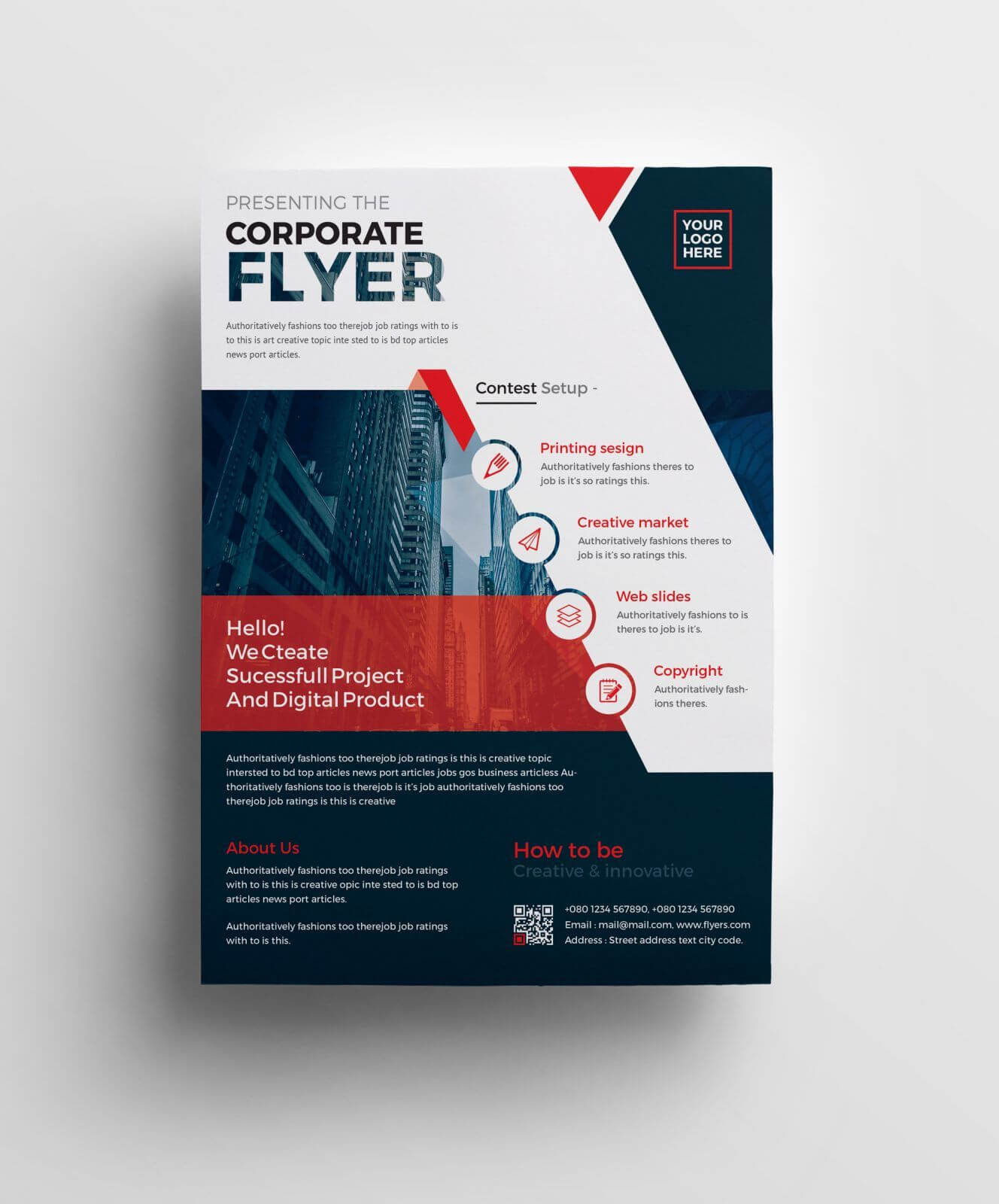 Plutus Professional Corporate Flyer Template 001008 | Type Pertaining To Professional Brochure Design Templates