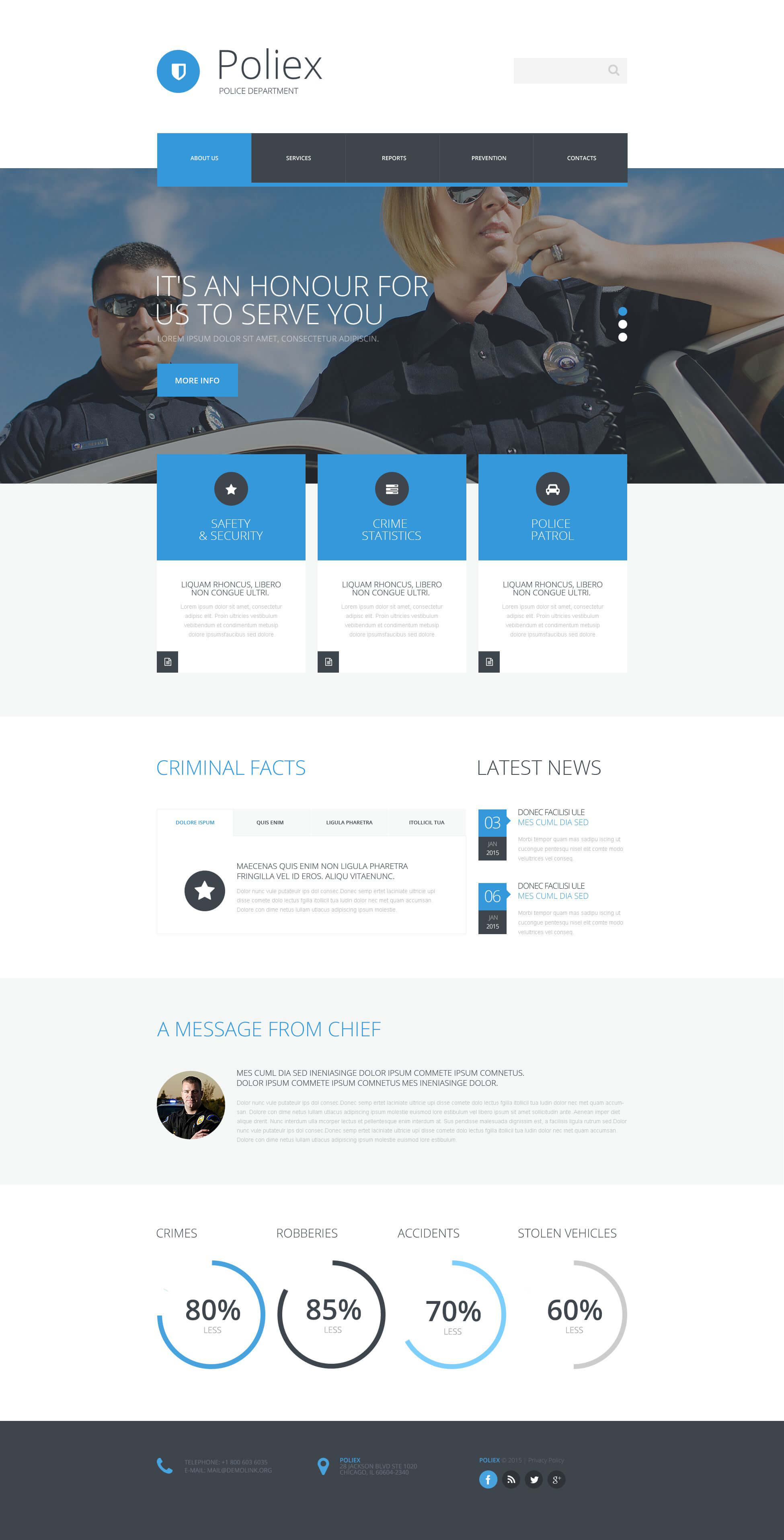 Police Department Website Template with Reporting Website Templates