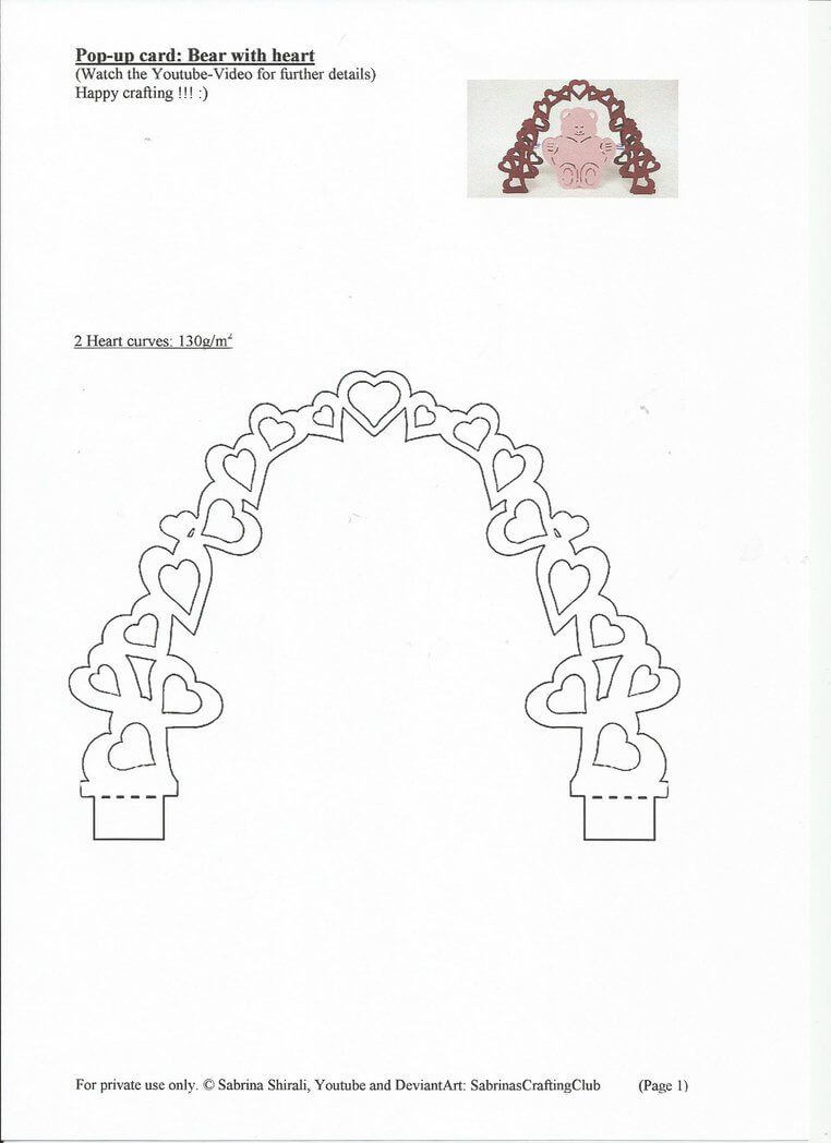 Pop Up Card Bear: Page 1Sabrinascraftingclub On With Regard To Pop Up Card Templates Free Printable