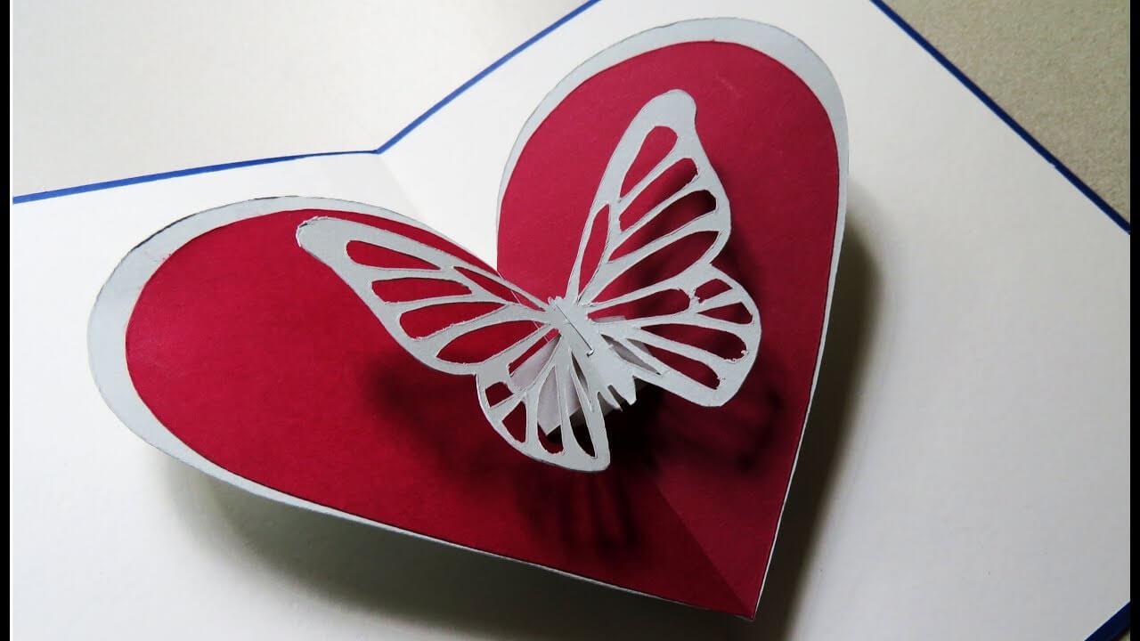 Pop Up Card (Butterfly Heart) - Greeting Pop Up Cardtemplate - Ezycraft regarding Pop Out Heart Card Template
