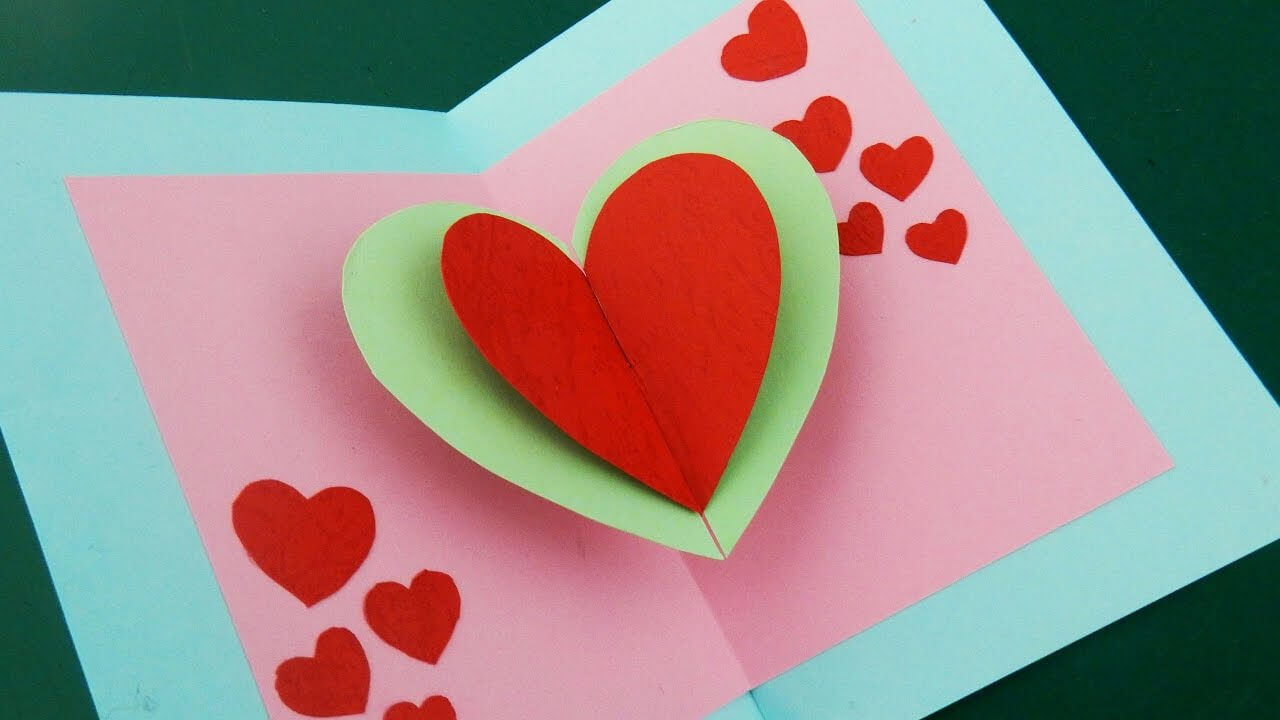 Pop Up Card (Floating Heart) - How To Make A Mini Greeting Card With A Pop  Out Heart - Ezycraft throughout Pop Out Heart Card Template