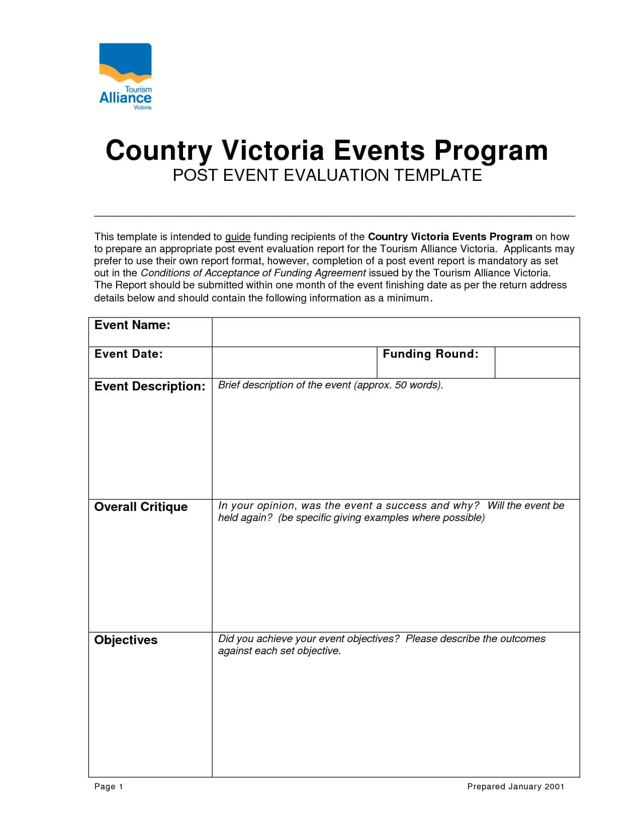 Post Event Evaluation Report Template Inside Post Event Evaluation Report Template