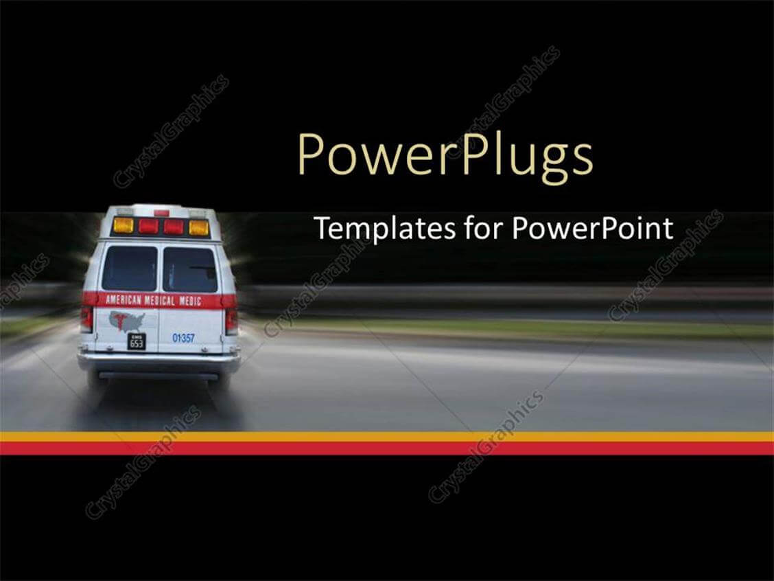 Powerpoint Template: Ambulance Going To Hospital For With Regard To Ambulance Powerpoint Template