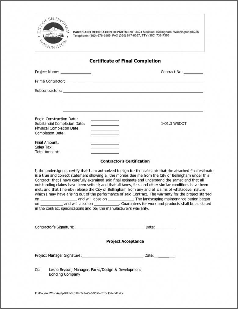 Practical Completion Certificate Template Uk   11+ Template In Practical Completion Certificate Template Uk