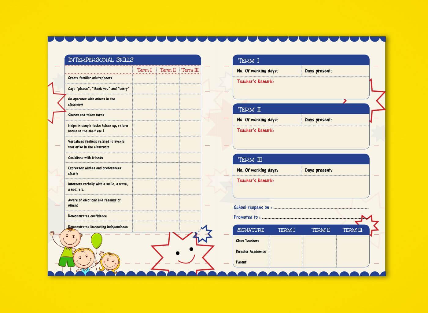 Pre Nursery Report Card On Behance   Report Card Ideas Throughout Boyfriend Report Card Template