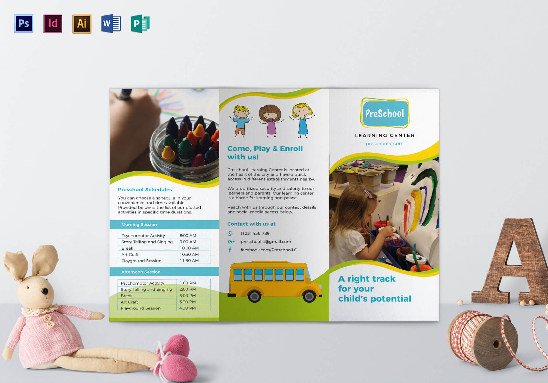 Pre School Brochure Template With Play School Brochure Templates