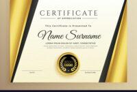 Premium Certificate Template Design With Golden inside High Resolution Certificate Template