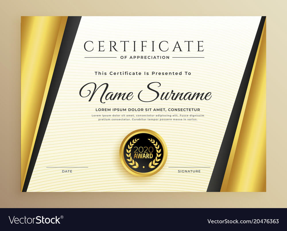 Premium Certificate Template Design With Golden inside High Resolution Certificate Template