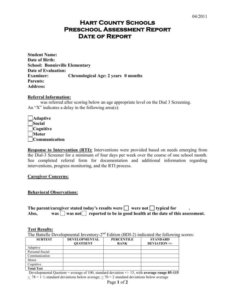 Preschool Evaluation Report Template For Template For Pertaining To Template For Evaluation Report