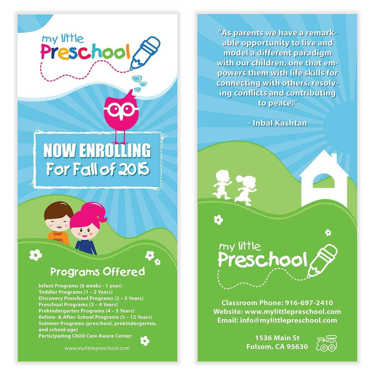 Preschool Flyer Template 06 | Chakra Posters, Flyers regarding Daycare Brochure Template