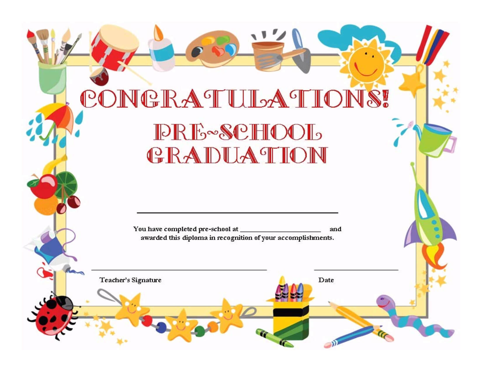 Preschool Graduation Certificate Template Free inside Free School Certificate Templates