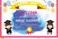 Preschool Kids Diploma Certificate Colorful Background intended for Children's Certificate Template