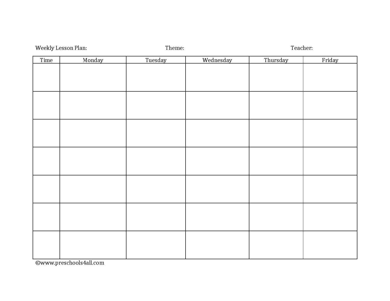 Preschool Lesson Plan Template - Lesson Plan Book Template throughout Blank Preschool Lesson Plan Template