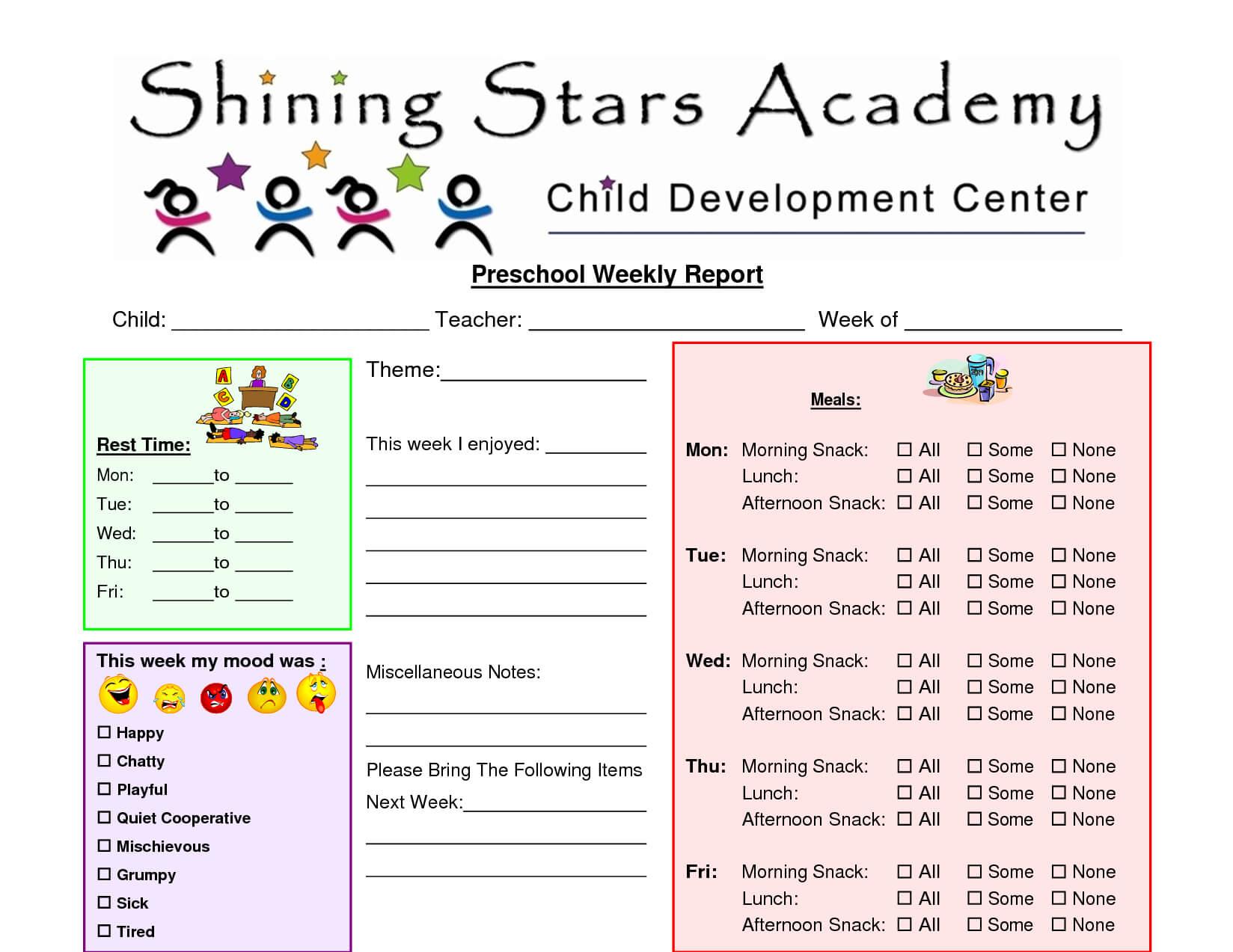 Preschool+Printable+Weekly+Progress+Reports+John+Blog Throughout Preschool Weekly Report Template
