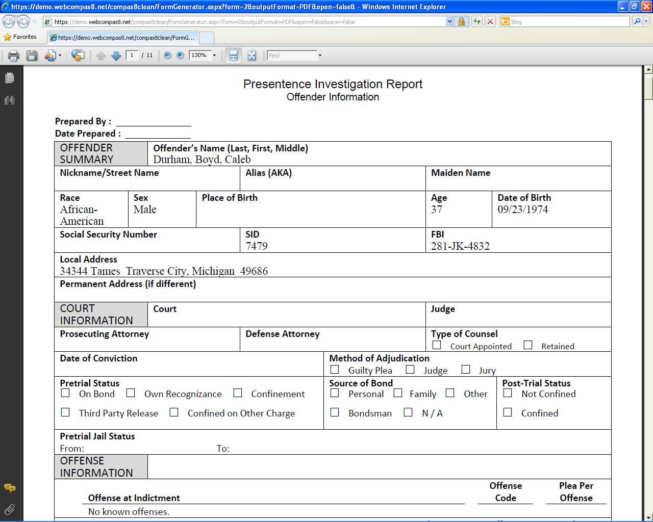 Presentence Investigation Report Template - Atlantaauctionco with regard to Presentence Investigation Report Template