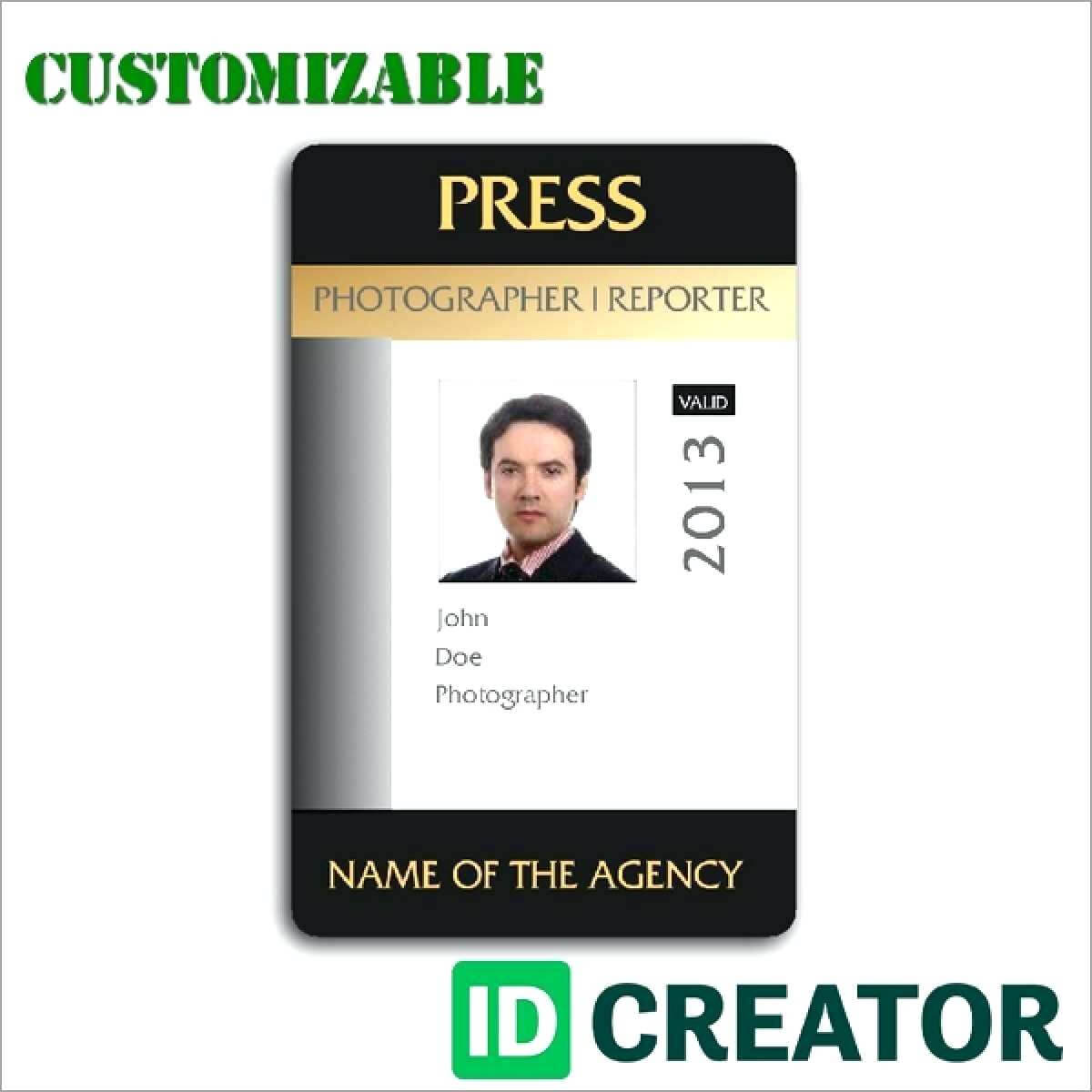 Press Id Template – Wecolor.co With Media Id Card Templates