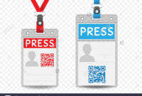 Press Journalist Vertical Badge Empty Template With Blue And Throughout Media Id Card Templates