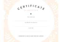 Pretty Fluffy with Child Adoption Certificate Template