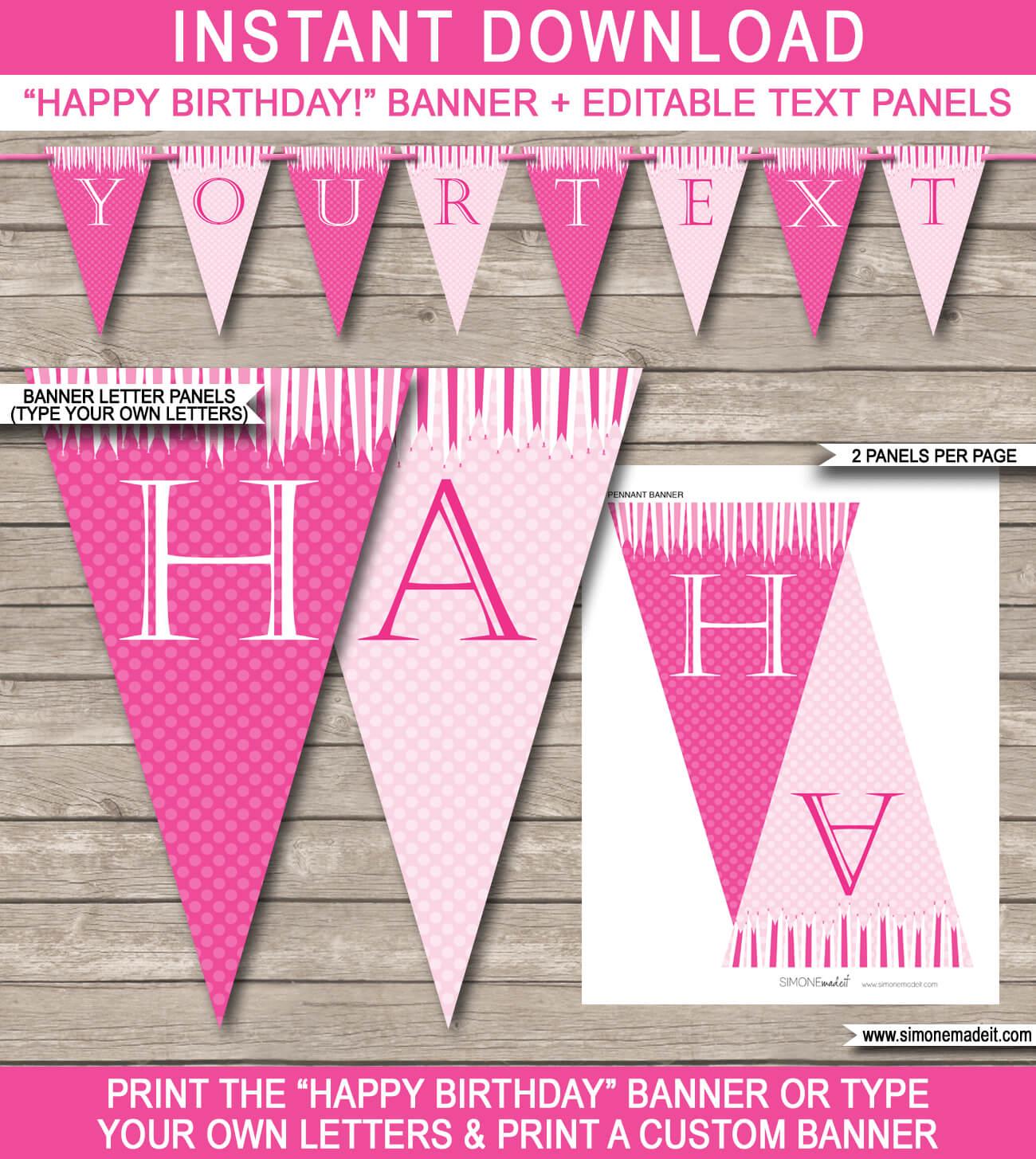 Princess Party Banner Template – Pink regarding Diy Party Banner Template